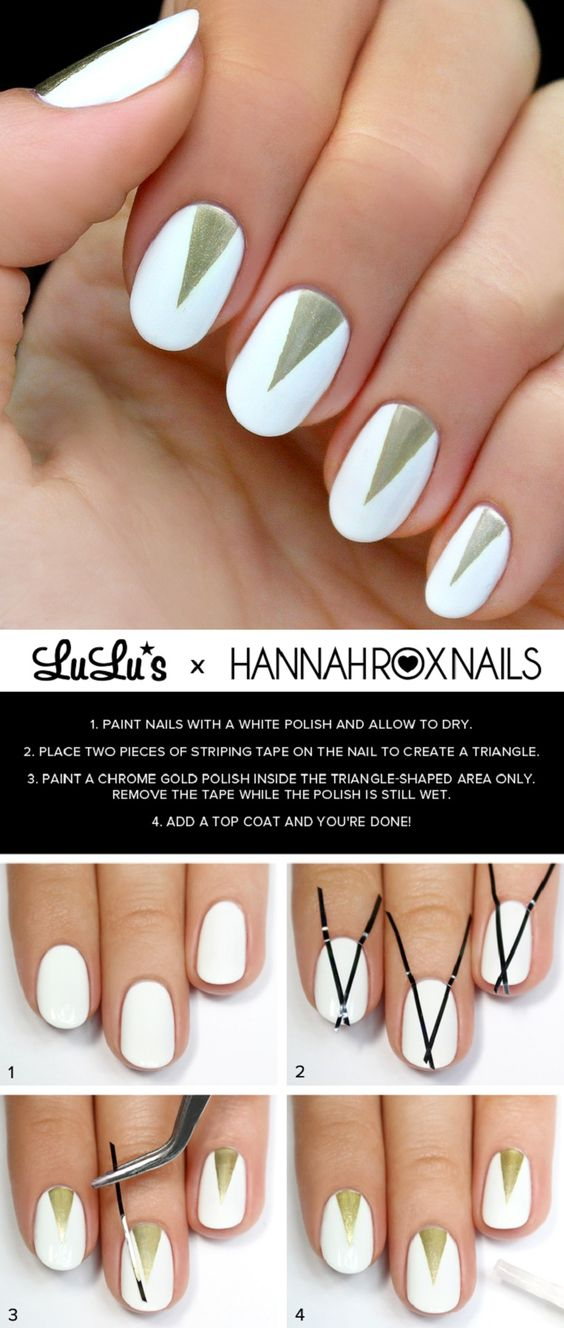 White and Gold Triangle Nail Tutorial - 16 Springtacular Nail Art Tutorials You Can Totally DIY | GleamItUp:
