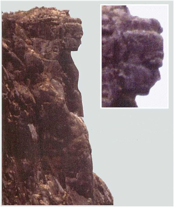 """The Lady of Mali (Guinea), is a masterpiece of nature, at 1500 m altitude on Mount Lour. It is the image of a remarkable beautiful woman's figure carved into the rock by wind erosion during ages, and visible at great distance in its full shape. The """"Lady of Mali"""" is located on a high rock wall over a abyss. The head is about 25 meters high, while the entire sculpture is about 150 meters high."""