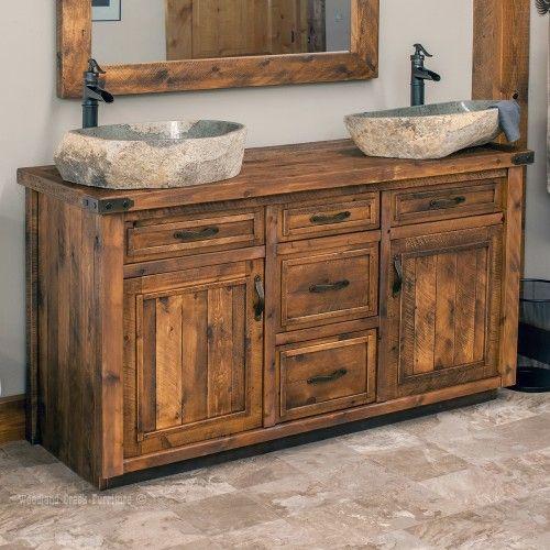 Timber Haven Rustic Barn Wood Vanity 48 72 Bathroom Red Wood Vanity Rustic Bathroom Vanities