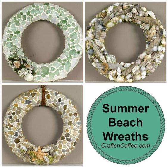 Don't miss this trio of tutorials to make Summer Beach Wreaths with driftwood, seashells, sea glass and river rocks.