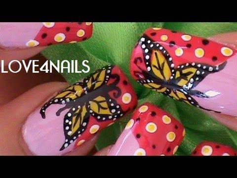 Como Pintar Una Mariposa Dramatica * Tutorial Decoracion para Uñas - YouTube