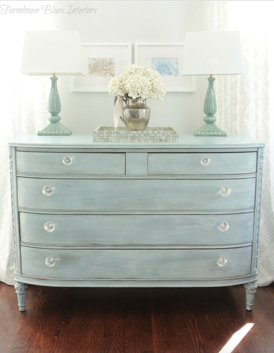 Pretty spring blue bureau makeover: