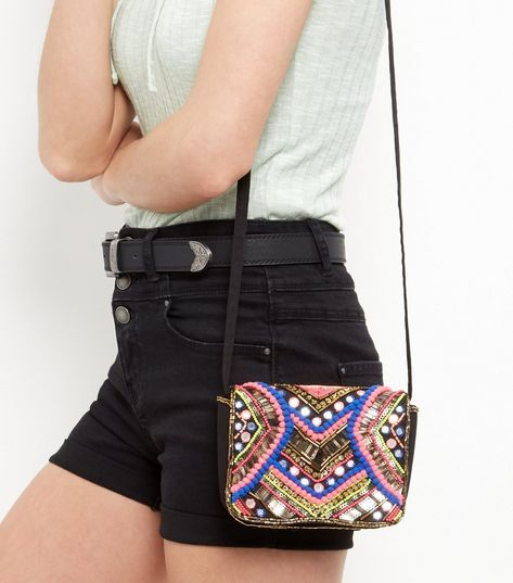 Multicoloured Beaded Pom Pom Embellished Across Body Bag    New Look