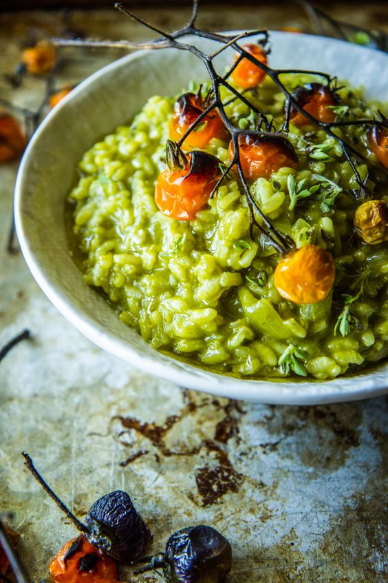 Spinach Basil Pesto Risotto from thepioneerwoman.