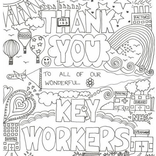 Thank You Key Workers Free Colour In Activity Download To Show Our Massive Appreciation In 2021 Free Coloring Coloring Pages Daycare Crafts