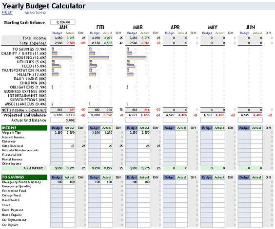 Beth Pearson (8pr1ngma1d) on Pinterest - budget calculator spreadsheet