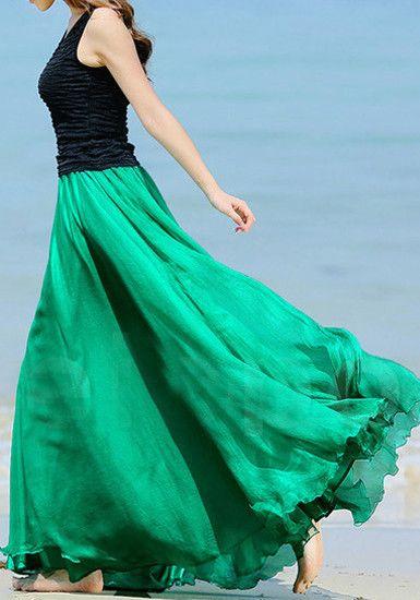 Circle Maxi Skirt - Green @LookBookStore