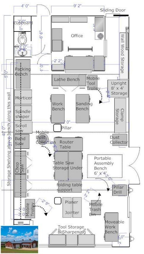 Into Woodworking Check Out These Garage Shop Ideas Garageshop Workshopgarage Workshop Workshop Layout Garage Workshop Layout Woodworking Shop Plans