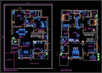 Duplex House 45 X60 Autocad House Plan Drawing Free Download In 2020 Duplex House Simple House Plans House Plans