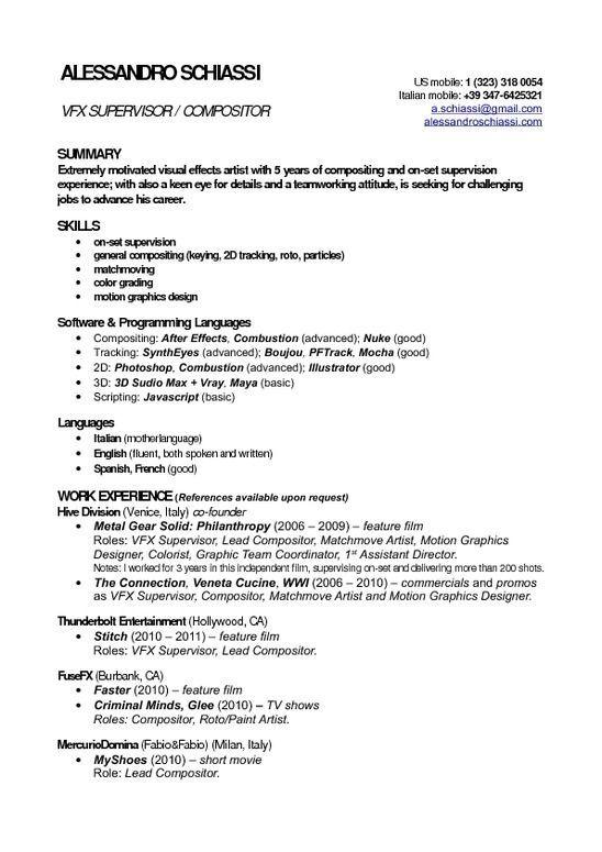 Resume Format Vfx Artist Resume Format Artist Resume Job