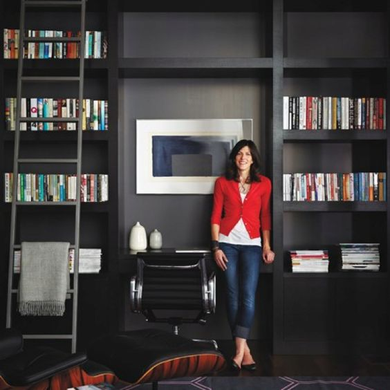 Black modern built in bookcases with desk