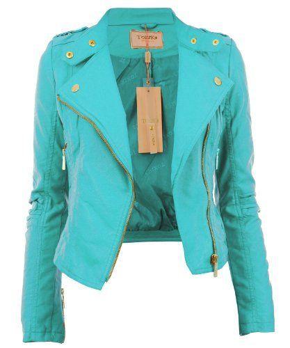 Aqua UK 10 - Diana New Womens Faux Leather Biker Gold Button Zip