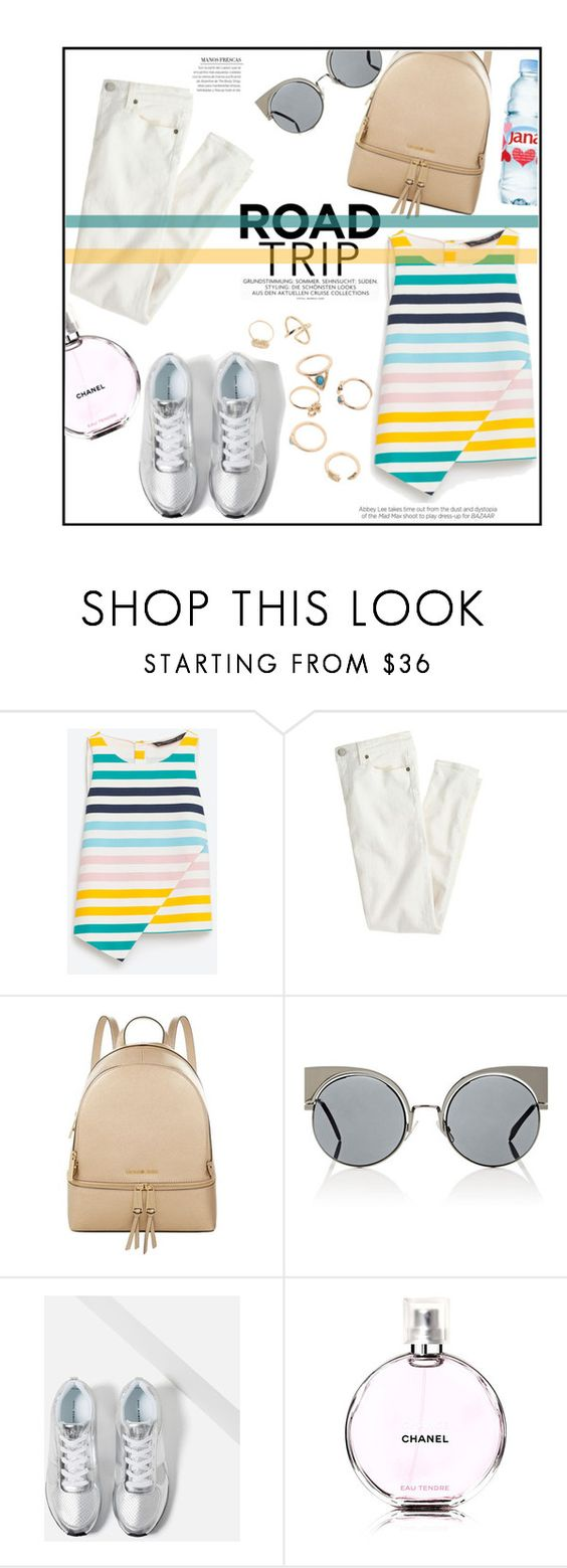 """""""Chic Trip"""" by castelli ❤ liked on Polyvore featuring J.Crew, MICHAEL Michael Kors, Fendi, Zara, Chanel, Kershaw, backpack, zara, whitejeans and roadtrip"""