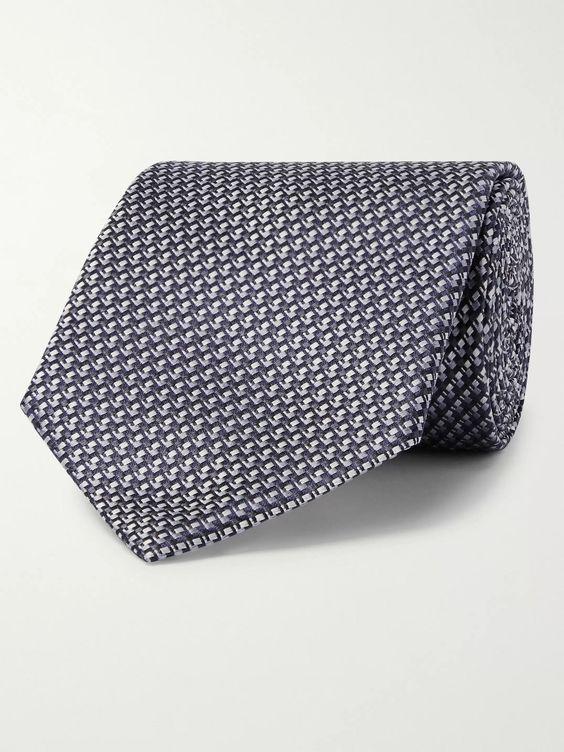 Tie Blue Grey Silver Stripe Pattern Handmade 100/% Silk Wedding Necktie 8cm Width