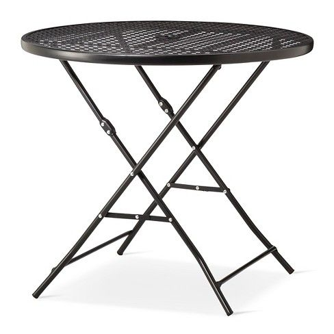 Metal Punch Folding Patio Bistro Table Threshold Room