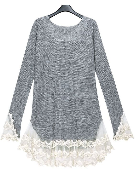Grey Long Sleeve Contrast Lace Pullover Sweater - SheInside: