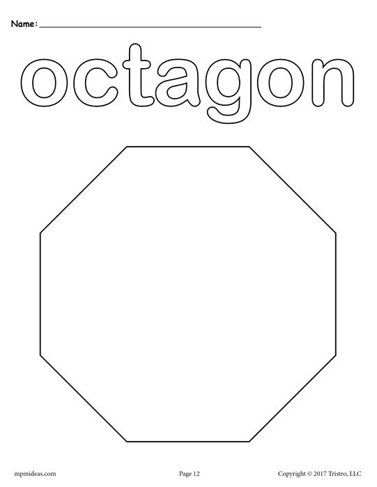 Free Printable Octagon Coloring Page Shape Coloring Pages Shapes Preschool Shapes Preschool Printables Octagon shape worksheets for preschool