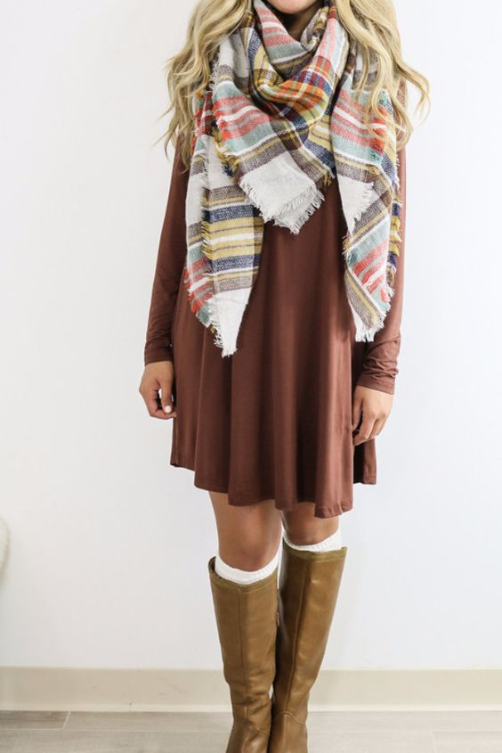 Royal Tower Cocoa Brown Long Sleeve Basic Dress: