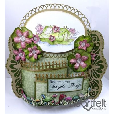Heartfelt Creations - Pink Lilies And Frog Bendi Card Project