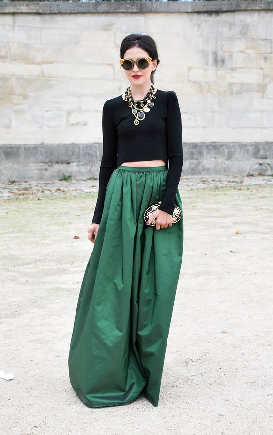 Black And Green Skirt