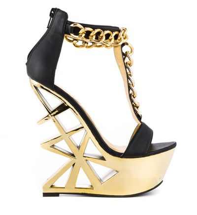 "Black and Gold Chain Wedge heels ""Picasso"" by Privileged - Tuba ..."