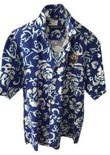 Seegler Man's Button Down Shirt Royal Blue & White Men's Tropical Shirt