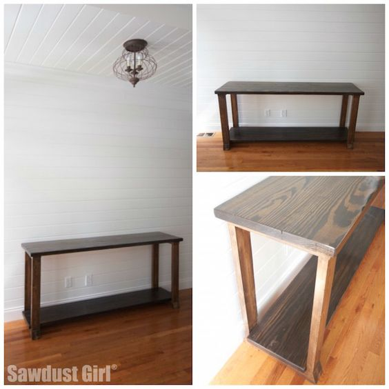 Two-toned wood console table