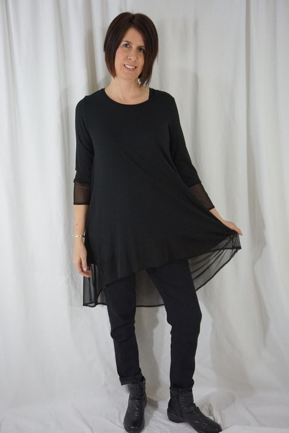 Comfy Black and Sheer Tunic
