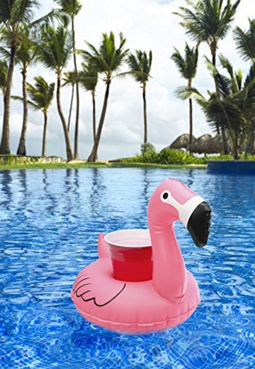 Fun flamingo floating drink holder