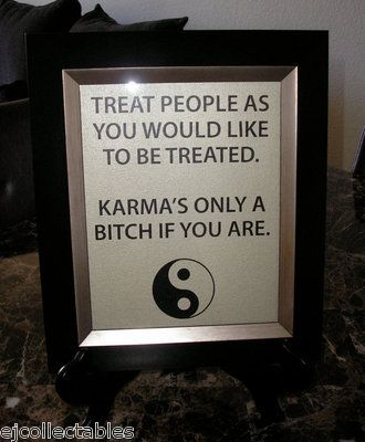 "Karma Quote People Well Ying Yang Canvas Sign 8""x10"" Picture Home Office Decor"