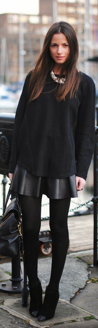 All black outfit, leather skirt, leather circle skirt, black tights, ankle boots
