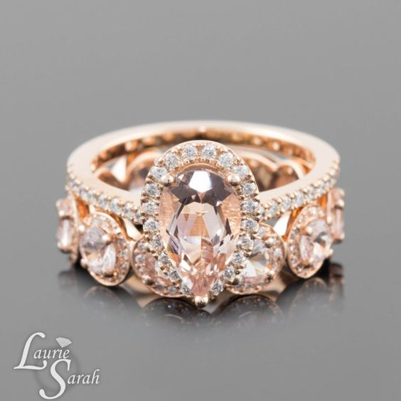 Pear Engagement Ring Pear Morganite Ring by LaurieSarahDesigns...I NEED THIS RING IN MY LIFE!!