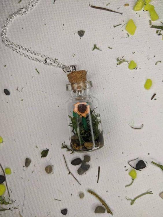 Forget me not flower bottle necklace  Cottegecore aesthetic flower necklace  Forget me not flower pendant