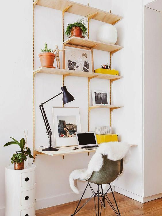 Idea For A Tiny Home Office Tucked In A Corner Modular Shelf Desk Are You Looking For Unique And Beauti In 2020 Tiny Home Office Home Office Decor Home Office Design