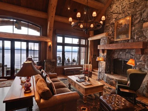 Aspen leaf interiors lake tahoe rustic great room for Lodge style fireplace ideas