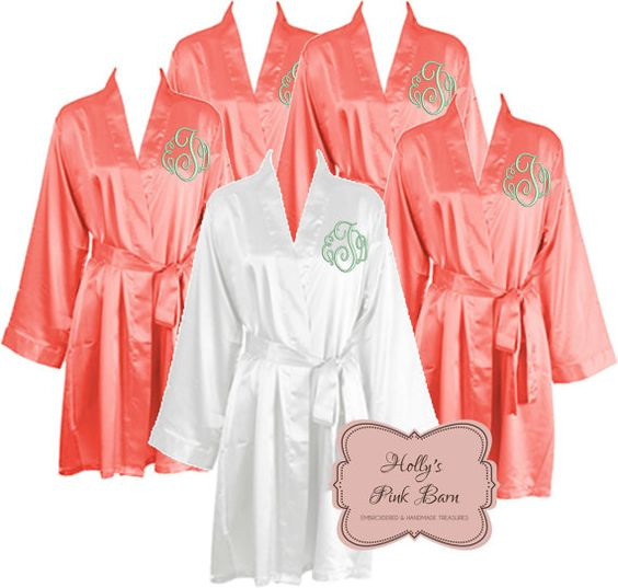 ships in 7 days bridesmaids robes coral and white personalized 5 satin robes bridesmaids gift