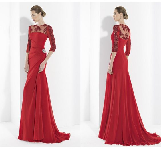 New Hot Selling Custom Made Red Color Floor Length Scoop Cheap Long Prom Appliques Lace Sexy Sleeves-in Prom Dresses from Weddings & Events on Aliexpress.com | Alibaba Group