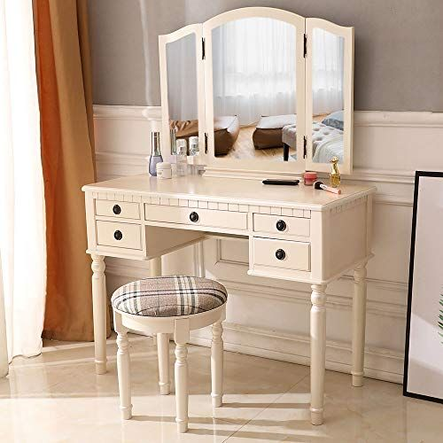 Square Mirror With Lights On Makeup Vanity Table With White Chair