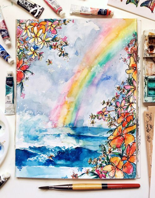 Watercolor Rainbow Drawing Rainbow Painting Rainbow Art