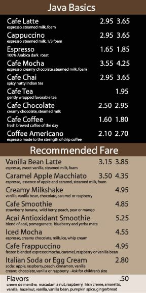Coffee Shop Menu Coffee Shop Pinterest Coffee shop menu - coffee menu