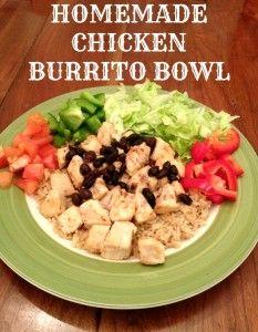 Burrito bowls, Chicken burrito bowl and Chicken burritos on Pinterest