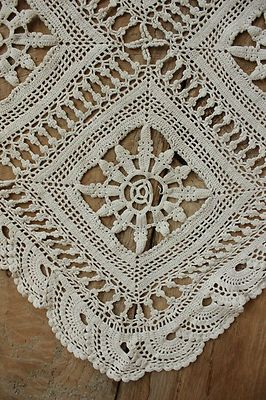 Vintage French crochet bed cover coverlet bedspread lace ~ handmade textile…