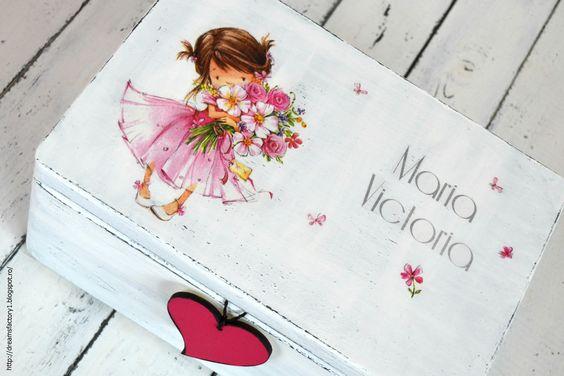 Dreams Factory: Ladita vintage personalizata ~ Pretty little girl/Decoupaged ~ Pretty little girl box ~ with chalkboard heart