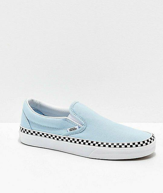 Vans Slip On Baby Blue & White Checkered Skate Shoes Blue, Womens Slip Ons Skate Shoes, Slip Ons, Womens