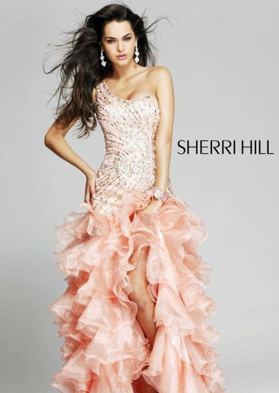 peach mermaidjellyfish prom dress prom dresses