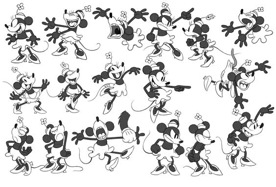 """To create new model sheets for each of the characters in """"Get A Horse!,"""" Disney Animation hand-drawn artist Eric Goldberg studied early Mickey films."""