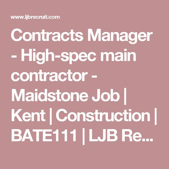 Contracts Manager- Main contractor Buckinghamshire - commercial manager job description