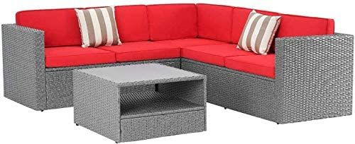 Amazon Com Crownland 4 Pieces 5 Seats Outdoor Patio Furniture Set Grey Pe Wicker Sectional In 2021 Outdoor Patio Furniture Sets Patio Furniture Sets Sectional Sofa