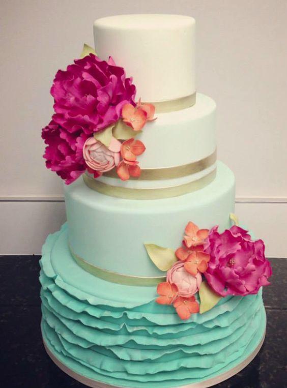 bolo degradee com flores