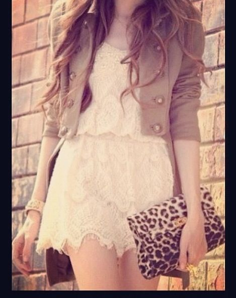 In love with the military jacket and the lace!!
